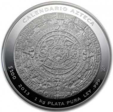 Stříbrná mince 1 kg Aztécký kalendář 2013